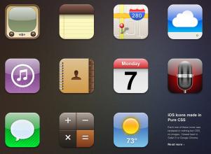 iPhoneの標準アプリアイコンをピュアCSSで描画したサンプル fig