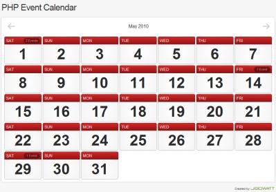 Ajaxを使ったクールなインタフェースを持つカレンダー実装スクリプト「PHP Event Calendar」 fig.1